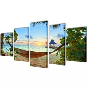 Conjunto 5 quadros praia de areia com cama de rede100 x 50 cm - PORTES GRÁTIS