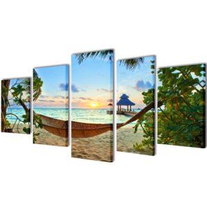 Conjunto 5 quadros praia de areia com rede 200 x 100 cm - PORTES GRÁTIS