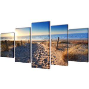 Conjunto 5 quadros praia de areia 100 x 50 cm - PORTES GRÁTIS