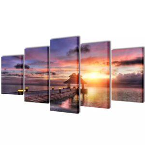 Conjunto 5 quadros praia com cabana 100x50 cm - PORTES GRÁTIS
