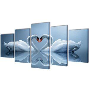 Conjunto 5 quadros cisnes 100 x 50 cm - PORTES GRÁTIS