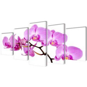 Conjunto 5 quadros orquídea 100 x 50 cm - PORTES GRÁTIS