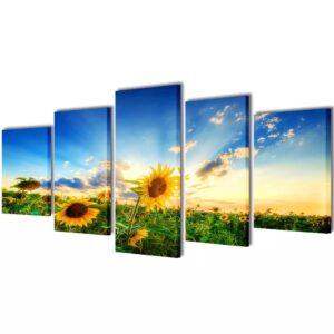 Conjunto 5 quadros com impressão de girassol 100 x 50 cm - PORTES GRÁTIS