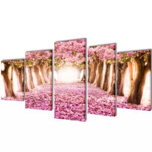 Conjunto 5 quadros flor de cereja 200 x 100 cm - PORTES GRÁTIS