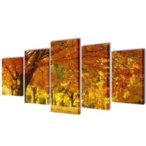 Conjunto 5 quadros com impressão ácer 200 x 100 cm - PORTES GRÁTIS
