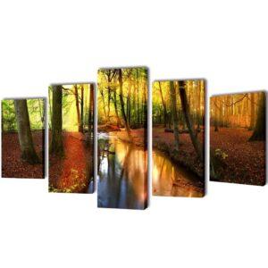 Conjunto 5 quadros impressão floresta 100 x 50 cm - PORTES GRÁTIS