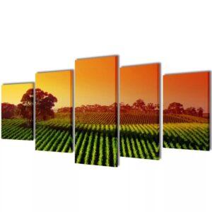 Conjunto 5 quadros impressão campos/plantações 200 x 100 cm - PORTES GRÁTIS