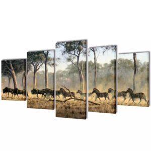 Conjunto 5 quadros com impressão zebras 100 x 50 cm - PORTES GRÁTIS