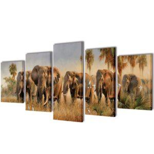 Conjunto 5 quadros com impressão elefantes 200 x 100 cm - PORTES GRÁTIS