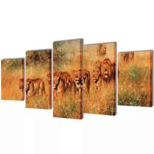 Políptico com impressão leões 100x50 cm - PORTES GRÁTIS