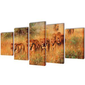 Conjunto 5 quadros com impressão leões 200x100 cm - PORTES GRÁTIS