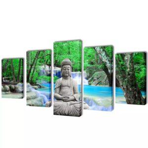 Conjunto 5 quadros com impressão Buddha 200x100 cm - PORTES GRÁTIS