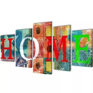 Conjunto telas coloridas para parede em lona, design Home, 100x50 cm - PORTES GRÁTIS