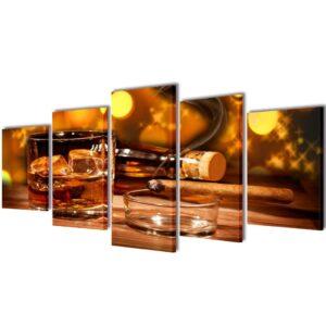 Conjunto 5 quadros com impressão uísque e cigarro 100 x 50 cm - PORTES GRÁTIS