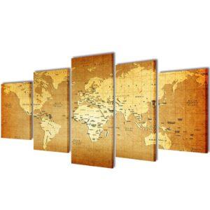 Conjunto 5 quadros mapa do mundo 200 x 100 - PORTES GRÁTIS