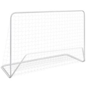 Baliza de futebol com rede 182x61x122 cm aço branco - PORTES GRÁTIS