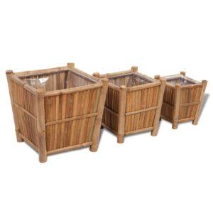 Plantador de bambu, com forro de nylon, 3 peças - PORTES GRÁTIS