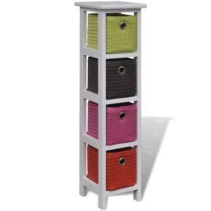 Estante de armazenamento de madeira com cestos multicolorido - PORTES GRÁTIS