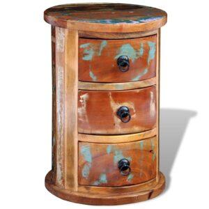 Armário de armazenamento de madeira maciça redondo com 3 gavetas - PORTES GRÁTIS
