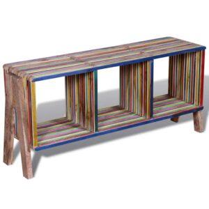 Armário TV com 3 prateleiras empilháveis, teca recuperada colorida - PORTES GRÁTIS