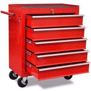 Carinho de ferramentas com 5 gavetas para oficina, vermelho - PORTES GRÁTIS
