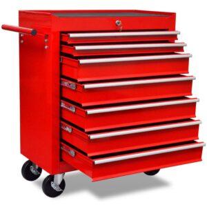 Trólei de ferramentas com 7 gavetas vermelho - PORTES GRÁTIS
