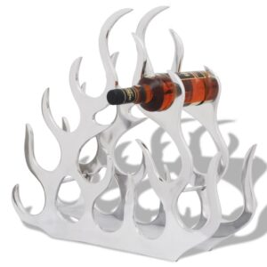Suporte/cremalheira do vinho de alumínio para 11 garrafas, prateado - PORTES GRÁTIS