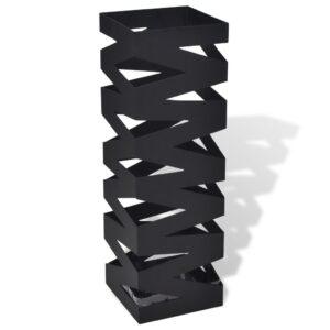Suporte guarda-chuvas/de armazenamento quadrado preto aço 48,5 cm - PORTES GRÁTIS