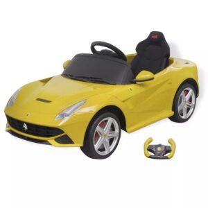 Carro de passeio Ferrari F12 amarelo 6 V com controlo remoto - PORTES GRÁTIS