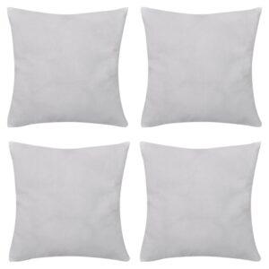 Capas de almofada algodão 4 pcs 40 x 40 cm branco - PORTES GRÁTIS