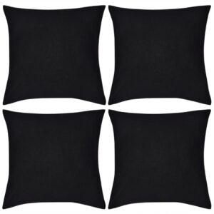 Capas de almofada algodão 4 pcs 40 x 40 cm preto - PORTES GRÁTIS