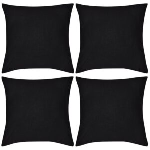 Capas de almofada algodão 4 pcs 50 x 50 cm preto - PORTES GRÁTIS