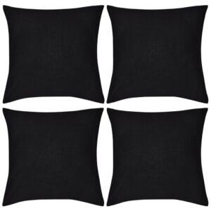 Capas de almofada algodão 4 pcs 80 x 80 cm preto - PORTES GRÁTIS