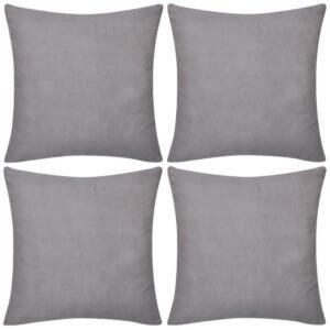 Capas de almofada algodão 4 pcs 40 x 40 cm cinzento - PORTES GRÁTIS