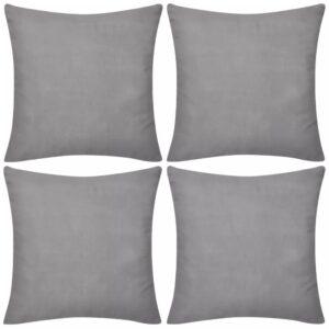 Capas de almofada 4 pcs 50 x 50 cm algodão cinzento  - PORTES GRÁTIS