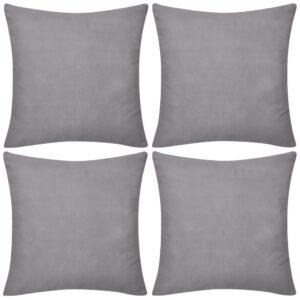 Capas de almofada algodão 4 pcs 80 x 80 cm cinzento - PORTES GRÁTIS