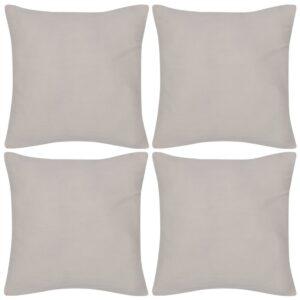 Capas de almofada algodão 4 pcs 50 x 50 cm bege - PORTES GRÁTIS