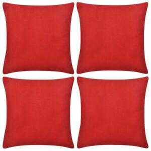 Capas de almofada algodão 4 pcs 40 x 40 cm vermelho - PORTES GRÁTIS