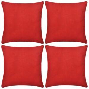 4 pcs Capas de almofada algodão 50 x 50 cm vermelho - PORTES GRÁTIS