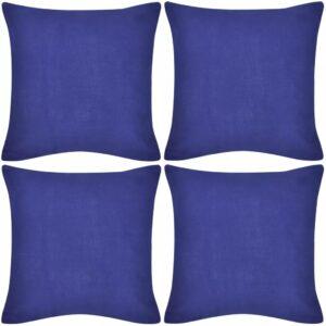 Capas de almofada algodão 4 pcs 40 x 40 cm azul - PORTES GRÁTIS