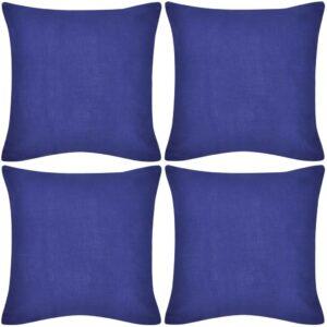 Capas de almofada algodão 4 pcs 50 x 50 cm azul - PORTES GRÁTIS