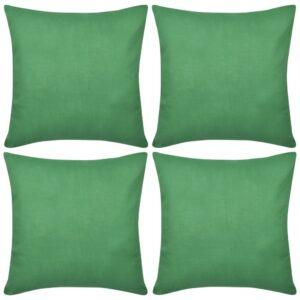 Capas de almofada algodão 4 pcs 40 x 40 cm verde - PORTES GRÁTIS