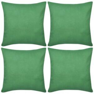 Capas de almofada algodão 4 pcs 50 x 50 cm verde - PORTES GRÁTIS