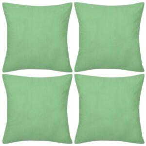 Capas de almofada algodão 4 pcs 40 x 40 cm verde maça - PORTES GRÁTIS