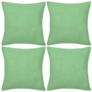 Capas de almofada algodão 4 pcs 50 x 50 cm verde maçã - PORTES GRÁTIS