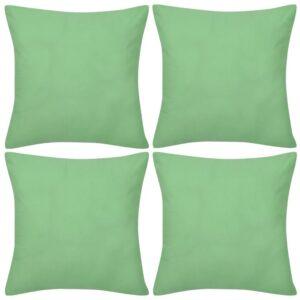 Capas de almofada algodão 4 pcs 80 x 80 cm verde maçã - PORTES GRÁTIS
