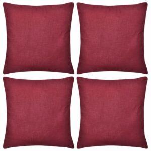 Capas de almofada algodão 4 pcs 50 x 50 cm borgonha - PORTES GRÁTIS