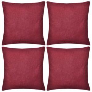 Capas de almofada algodão 4 pcs 80 x 80 cm borgonha - PORTES GRÁTIS