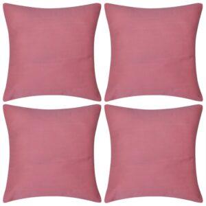 Capas de almofada algodão 4 pcs 40 x 40 cm rosa - PORTES GRÁTIS