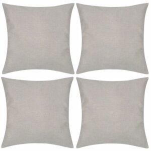 Capas de almofada estilo linho 4 pcs 40 x 40 cm bege - PORTES GRÁTIS